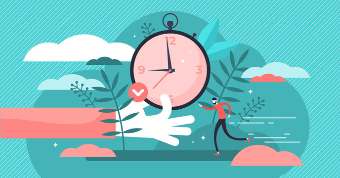 Punctual vector illustration. Flat tiny precision timing persons concept.