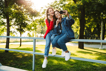 Image of two happy girls taking selfie photo on cellphone and smiling while sitting on railing in green park