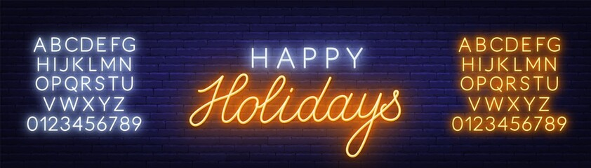 Fototapete - Happy holidays neon sign. Greeting card on dark background.