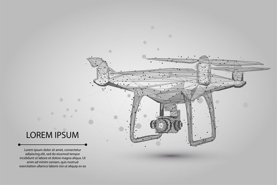 Abstract mash line and point Quadrocopter. Vector business illustration. Polygonal low poly 3D flying drone