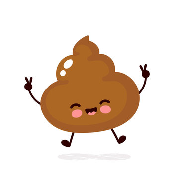 Cute happy smiling poop character.