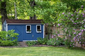 Garden shed in backyard