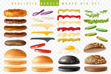 Fototapeta Realistic burger maker big transparent background set obraz