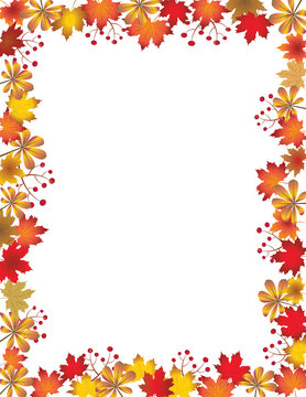 Autumn leaves border isolated on white background. Red, yellow and orange fall leaves with copy space. Fall foliage frame for text. Editable vector illustration, EPS10.