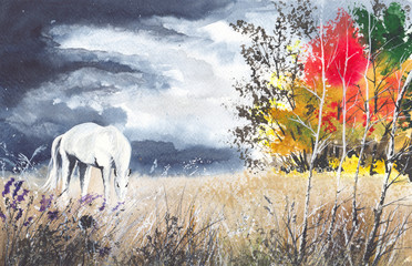 Watercolor picture of a horse on the meadow between trees with stormy clouds
