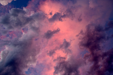 Abstract color of clouds and sky on pink in evening sunshine.