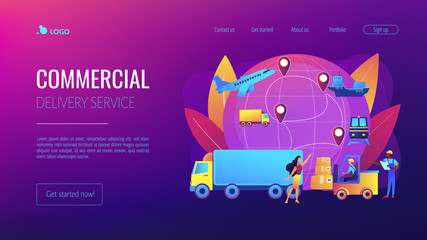 Warehouse worker transporting goods. Freight shipping types. Business logistics, smart logistics technologies, commercial delivery service concept. Website homepage landing web page template.