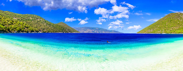 Best beaches of Kefalonia - Antisamos with turquoise waters and green mountains. Greece, Ionian islands