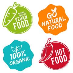 Wall Mural - Organic food labels and elements. Hot Food. Natural Food. Restaurant logo design.