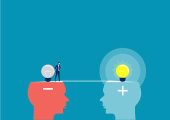 Obraz business man across between head negative to head positive thinking concept - fototapety do salonu