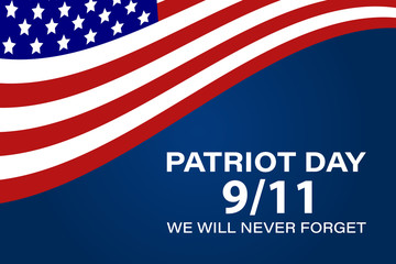 Never Forget September 11, 2001 USA. Patriot Day USA poster, banner. Fototapete