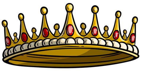 Cartoon golden royal king crown with diamonds and gems. Isolated on white background. Vector icon. Vol. 1
