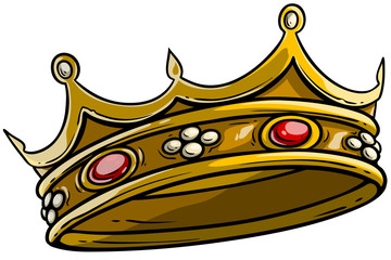 Cartoon golden royal king crown with diamonds and gems. Isolated on white background. Vector icon. Vol. 2
