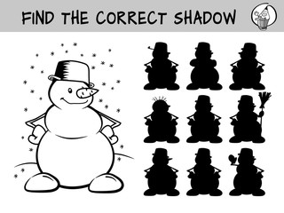 Happy snowman. Find the correct shadow. Educational matching game for children. Black and white cartoon vector illustration