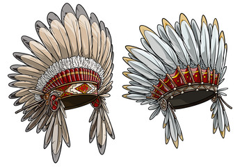 Cartoon detailed colorful native american indian chief headdress with feathers. Isolated on white background. Boho style. Vector icon set.