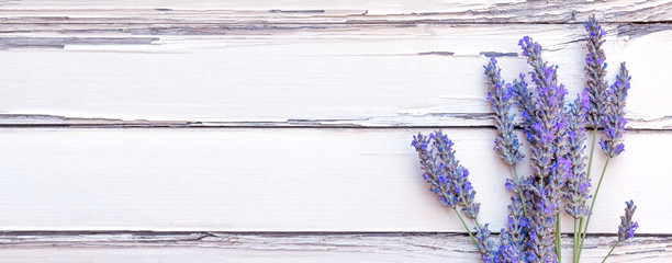 Summertime - lavender flowers. Bunch of lavender flowers on white rustic wooden background. Wall mural