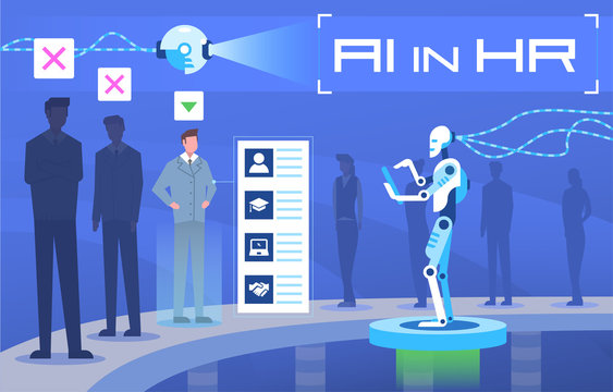 Vector illustration Artificial intelligence in human resources