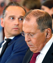 German Foreign Minister Heiko Maas and his Russian counterpart Sergei Lavrov meet at Petersberg mountain, in Koenigswinter
