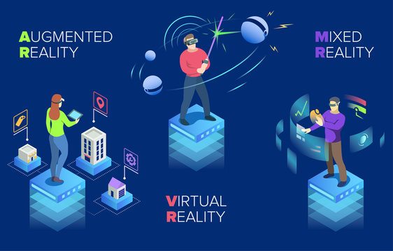 Colourful vector illustration modern technology, virtual reality, mixed reality