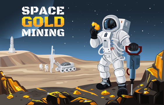 Vector flat illustration of a space gold mining