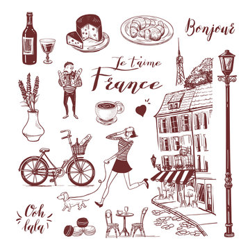 French vintage set of cafe, girl and dachshund, man, bistro, etc. Lettering of french words. Set for postcard, menu, background. Hand drawn style vector doodle design illustration.
