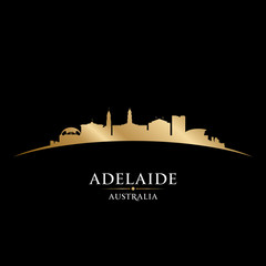 Wall Mural - Adelaide Australia city silhouette black background