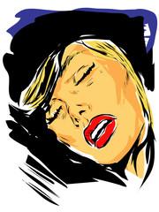 Visage femme qui dort, fait un drôle de rêve (dessin aplat couleur)