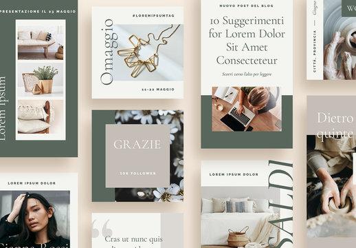 Set minimalista e organico per social media