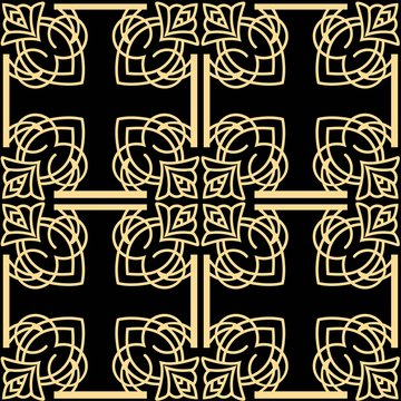 Vintage modern art deco abstract geometric seamless golden pattern. Print for textile, wallpaper, wrapping.