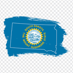 Flag of  State South Dakota from brush strokes and Blank map of  South Dakota. United States of America. High quality map South Dakota and flag on transparent background. Stock vector.  EPS10.