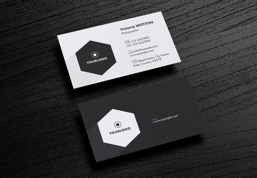 Business Card Layout with Gray Stripes