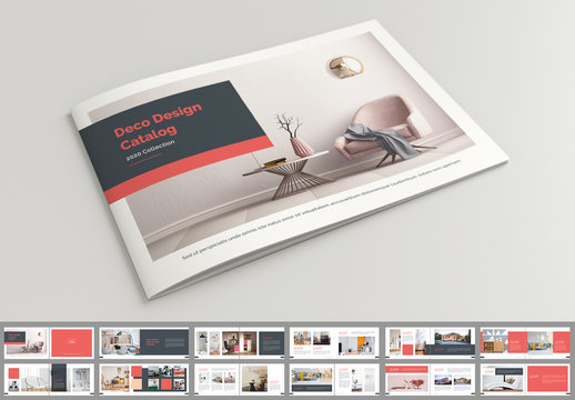Product Catalog Layout with Red Accents
