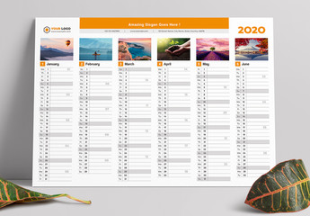Calendar Layout with Orange Elements