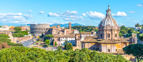 Photo sur Plexiglas Rome Church of Saint Luca and Martina, Italian: Santi Luca e Martina, in Roman Forum, Rome, Italy. Panoramic view