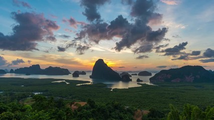Wall Mural - Time lapse of Samet Nangshe viewpoint at sunrise in Phang nga, Thailand.