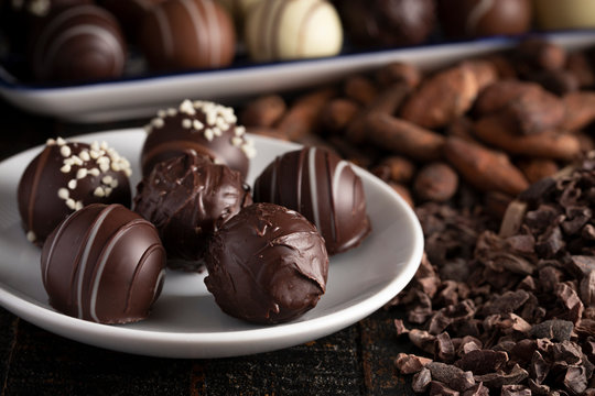 Chocolate Truffles on a Rustic Wooden Table