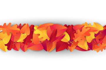 Autumn leaves divider strip. Realistic vector illustration.