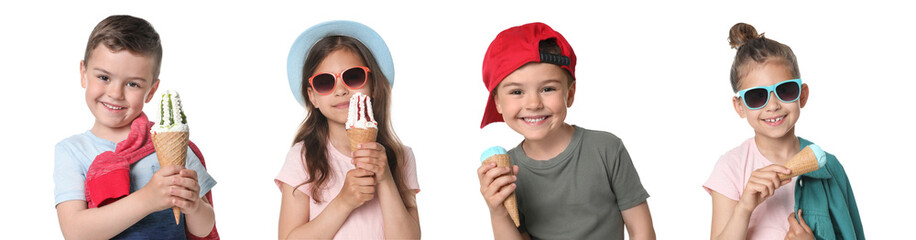 Adorable little girl with delicious ice creams on white background