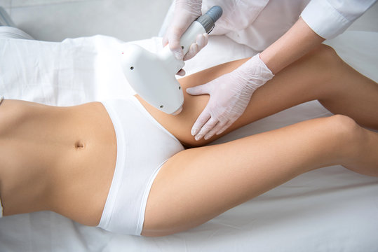 Female on bikini line laser epilation procedure