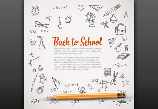 Back to School Banner Layout with Illustrations