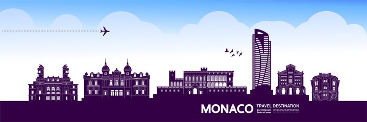 Fototapete - Monaco travel destination grand vector illustration.