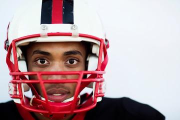 Studio portrait of football player