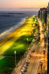 The Costa Beach in Vila Velha during sunset , Espirito Santo , Brazil.