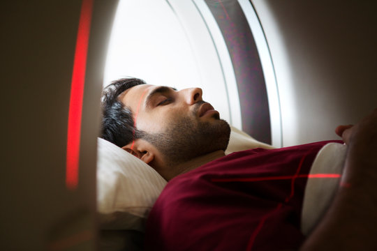 Close up of man in magnetic resonance imaging