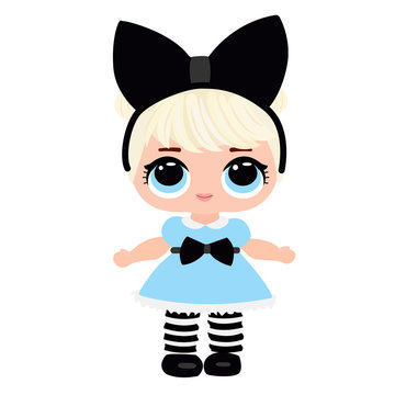 Cute doll for baby. Blonde in blue dress and bow. Vector illustration