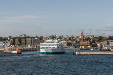 the electrical ferry Forsea from Denmark arrives at the port of Helsingor, Sweden