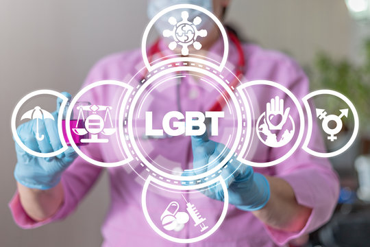 LGBT Health Care concept. Doctor touches lgbt text on virtual screen. Medical Ethics and lgbtq+ patients rights equality.