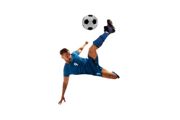 Soccer players isolated on white.