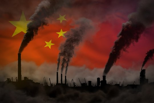 Dark pollution, fight against climate change concept - industrial 3D illustration of industry chimneys heavy smoke on China flag background