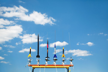 Model rockets ready to be launched